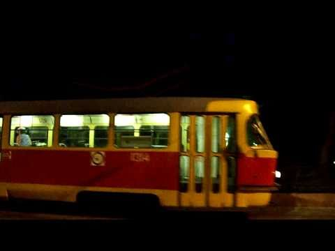Night Transportation in Moscow, Russia (trams, buses, metro, trolleybuses) 2010.