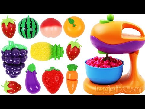 Learn Fruits & Vegetables with Toy Mixer Playset Velcro Toys for Kids Preschoolers Nursery Rhymes