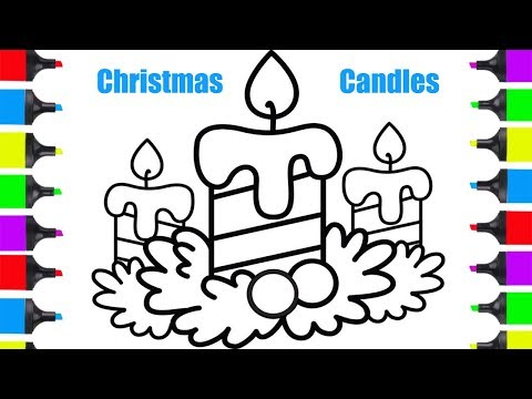 How To Draw Christmas Stuff.Smotret How To Draw Christmas Candles Best Christmas