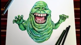 Slimer -Ghostbuster (speed painting - pancil)