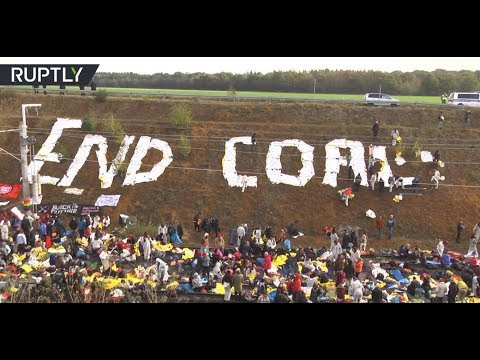 Thousands activists occupy railway tracks to protest German coal mine expansion
