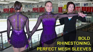 Figure Skating Dress With Seamless Mesh Sleeves