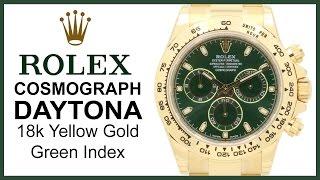 ▶ 2016 Rolex Cosmograph Daytona 18k Yellow Gold, Green Dial  REVIEW - 40mm, Tachymetre, 116508