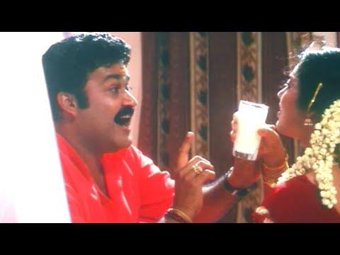 ആദ്യരാത്രി ഇങ്ങനെയല്ല പാല് കുടിക്കേണ്ടത് | Mohanlal , Meena - Romantic Scene