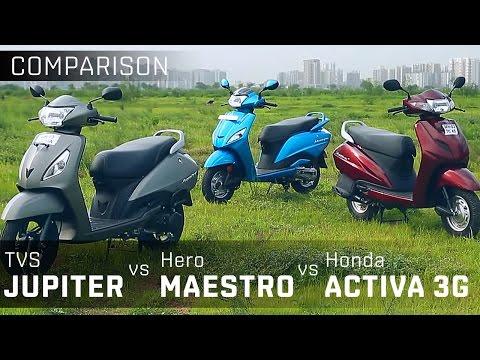 TVS Jupiter vs Hero Maestro vs Activa 3G :: 110cc Scooter Comparison :: ZigWheels