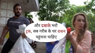 Salman Supply Groceries to Poor People for Free in Mumbai | with Girlfriends Lulia and Jacqueline