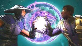 Injustice 2 - Raiden Vs Black Lightning All Intro Dialogue/All Clash Quotes, Super Moves