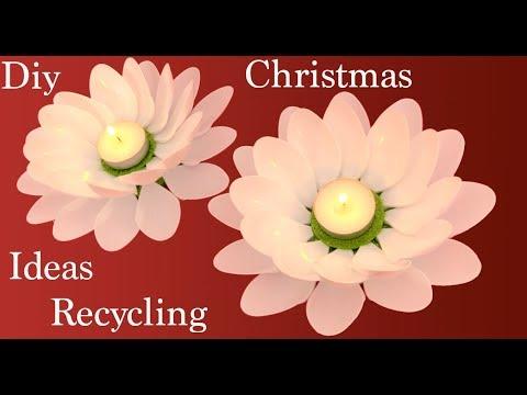 Flores Portavelas En 3d Con Material Reciclado Decoraciones
