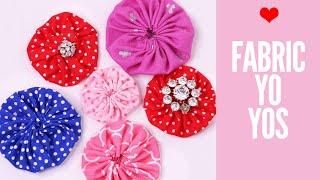 How To Make FABRIC FLOWERS   DIY Fabric Yo Yo   Flower Making   Templates