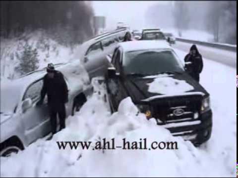 أغرب حادث بالعالم بالثلج