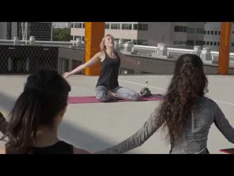Rooftop yoga at Student Experience