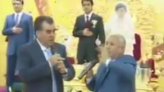 Эмомали Рахмон на свадьбе Рустама Эмомали