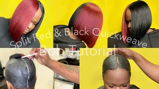 Red & Black Blunt Cut  Quickweave Bob Tutorial Couldn't Decide 🤷🏾♀️ We Did BOTH| Protective Cap