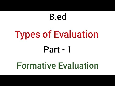 Part - 1 formative evaluation | types of evaluation | b.ed