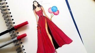 Elegant Party Dress Drawing || Easy Fashion