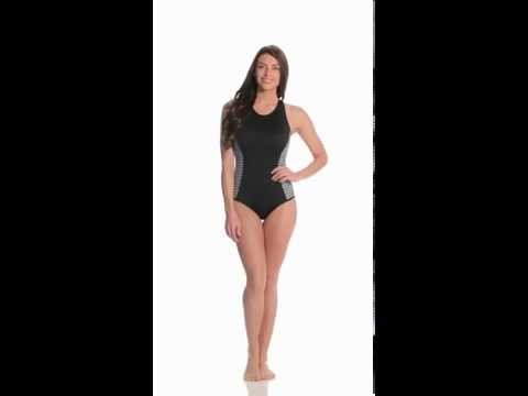 4cc4f5fbd6 Beach Diva Mesh Stripe One Piece | SwimOutlet.com - смотреть онлайн ...