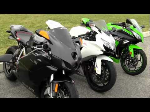 SportBike ShootOut Ninja 300, Ninja ZX6R 636, GSXR 750 & Ducati 749 Motorcycle Review PART 1 of 2