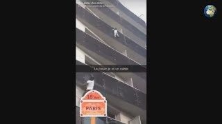 В Париже мужчина спас жизнь ребенка, который повис на балконе здания