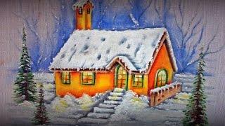 Casinha com Pinheiros e Neve – Pintura em Tecido