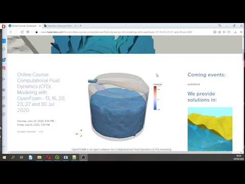 Intro to Online Course: Computational Fluid Dynamics (CFD) Modeling with OpenFoam - Jul 2020