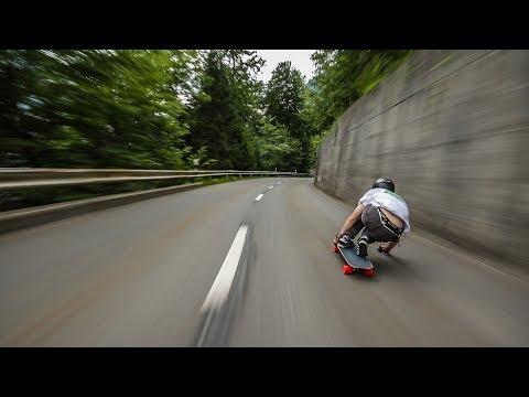 Racing Downhill on a Skateboard in Switzerland