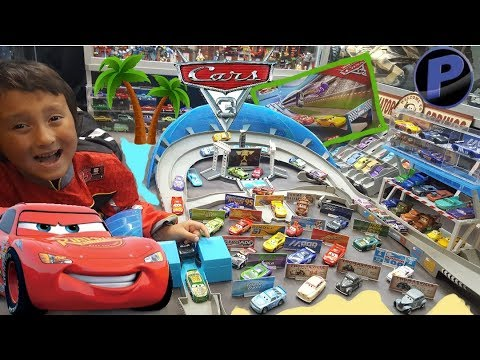 Opening A NEW BOX of CARS 3 TOYS! SUPER CHASE & NEW PLAYSET! TONS of NEW CARS!! CASE T! Part 1