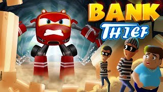 SuperCar Rikki and Police car Chases the bank Thief | Kids Cars Cartoon Story 04