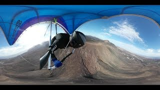 360º Video: Paragliding over the vulcano Tinasoria at Lanzarote