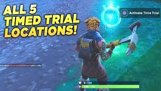 """ALL 5 TIMED TRIAL LOCATIONS! """"Complete Timed Trials"""" Fortnite Week 6 Season 5 Challenge Guide!"""
