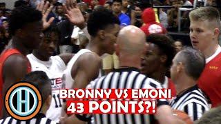 Bronny James VS Emoni Bates Gets Heated!! | Lebron James Watches CRAZY Battle!! | Bates Drops 43!!