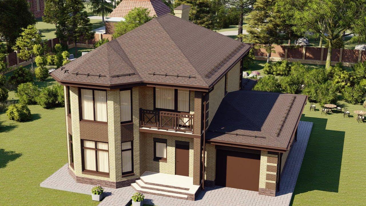 Просторный дом из газоблоков с балконом и гаражом на 1 авто