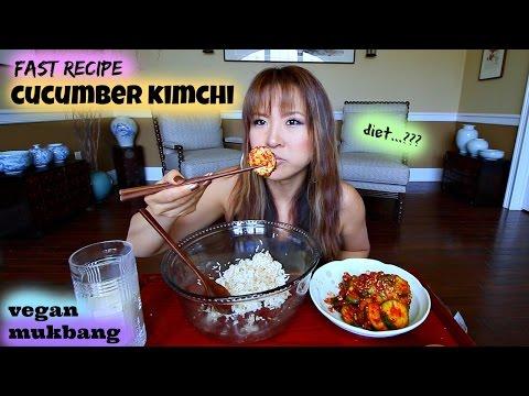 FRESH RAW CUCUMBER KIMCHI • Mukbang & Recipe