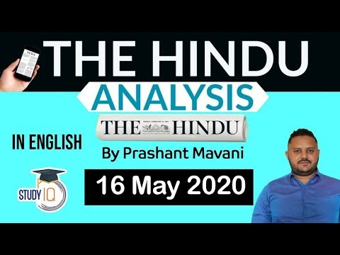 English 16 May 2020 - The Hindu Editorial News Paper Analysis [UPSC/SSC/IBPS] Current Affairs