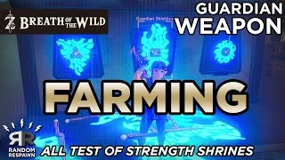 Zelda: Breath of the Wild - Guardian Weapon Farming (All Test of Strength Shrines)
