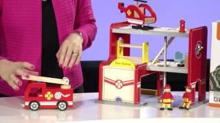 Vaikiška medinė gaisrinės stotis su sraigtasparniu | Viga 50828