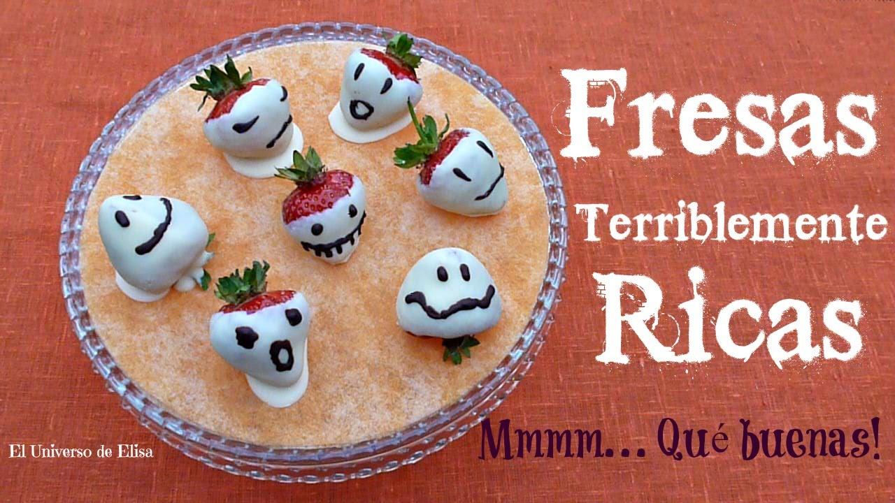 Recetas para Halloween y el Día de los Muertos, Fantasmas de Fresa y Chocolate Blanco