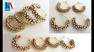 simple and easy || Making of ring model earrings with stone chain and moti chain at home