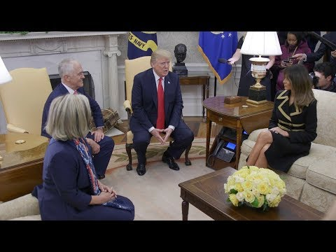President Trump and First Lady Melania Trump Welcome PM Turnbull and Mrs. Turnbull