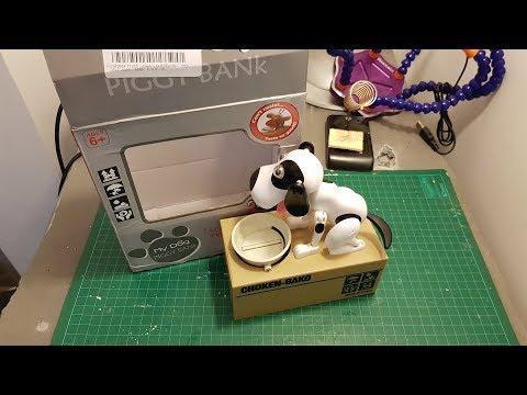 Cute Stealing Dog Mini Model Piggy Bank Money Save Pot Coin Electricity Storage Box Creative Gift