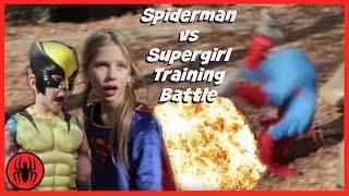 Little Heroes Spiderman vs Supergirl in Real Life   Wolverine Warns Supergirl   SuperHero Kids Movie