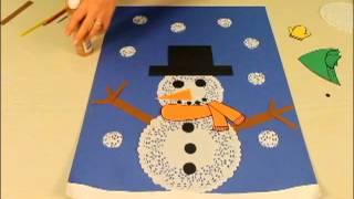 Bonhomme de neige avec des napperons en papier