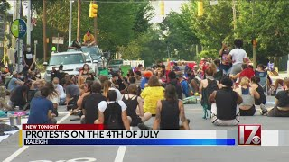 Raleigh protesters gather at Executive Mansion on July 4th