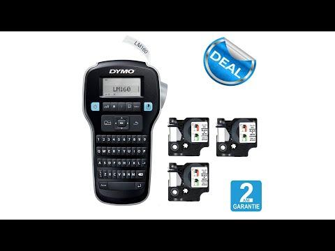 Dymo Labelmanager 160P starter kit, setul include 3 benzi D1 12mm x 7m, negru/alb originale 45013