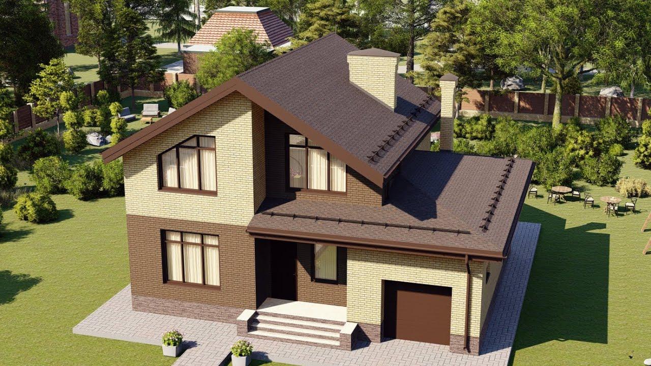 Проект дома с мансардой и гаражом 148 м2