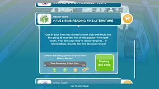 Having 5 sims reading fine literature ( Free play sims)