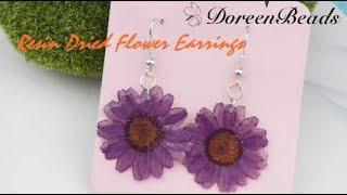 DoreenBeads Jewelry Making Tutorial - How To Make Pretty Resin Dried Flower Earrings