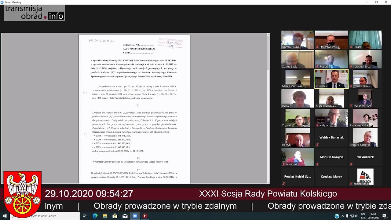 Zdjęcie do XXXI sesja Rady Powiatu Kolskiego - 29.10.2020