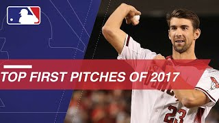 Check out the best ceremonial first pitches from sports stars, celebrities and heroes in 2017