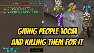 Giving People 100M In The Wilderness And PKing Them For It