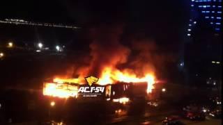 Пожар в авторынке «Горский» в Новосибирске ночь на 12 октября 2015